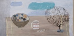 sea fan, bowl of round stones and girls' mug