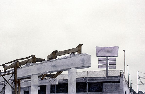 Panoramic Drawing 3 (Old Highway diptych)